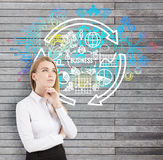 Blonde Frau und runde Geschäftsskizze auf Holz Lizenzfreies Stockfoto