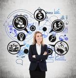 Blonde Frau und schwarze und blaue Geschäftsikonen Lizenzfreie Stockfotografie
