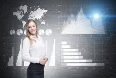 Blonde Frau, vier Diagramme und Weltkarte Stockfoto