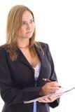 Blonde Frau, welche die Kenntnisse weg schauen nimmt Stockfotografie