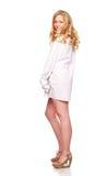 Blonde Frauen im weißen Hemd Lizenzfreie Stockbilder
