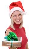 Blonde Frauen und ein Geschenkkasten Lizenzfreie Stockbilder