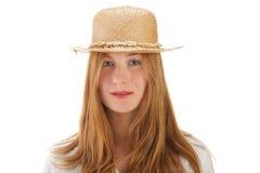 Blonde Frauen- und Strohmütze Lizenzfreies Stockfoto