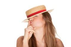 Blonde Frauen- und Strohmütze Lizenzfreie Stockbilder