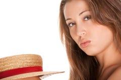 Blonde Frauen- und Strohmütze Stockbilder