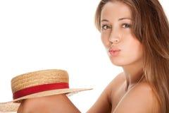 Blonde Frauen- und Strohmütze Lizenzfreie Stockfotografie