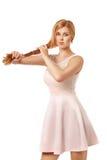 Blonde Frauenatelieraufnahme, Isolat whute Hintergrund Stockbilder
