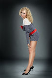 Blonde Frauenaufstellung Stockfotografie