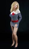 Blonde Frauenaufstellung Stockbild
