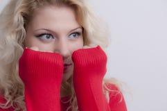 Blonde Frauenaufstellung Stockfoto