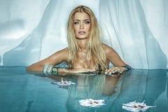Blonde Frauenaufstellung der Schönheit Stockbilder