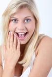 Blonde Frauenausdrücke Lizenzfreies Stockfoto