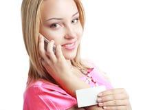 Blonde Frauengriffkarte Lizenzfreies Stockfoto