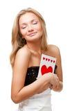 Blonde Frauenholdingpostkarte Stockbilder
