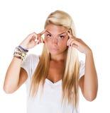 Blonde Frauenkopfschmerzen Stockfotos