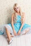 Blonde Frauenweinlese Lizenzfreie Stockfotografie