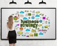 Blonde Frauenzeichnungs-Geschäftsstrategie, whiteboard Lizenzfreies Stockbild