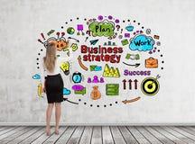 Blonde Frauenzeichnungs-Geschäftsstrategieskizze Lizenzfreie Stockfotos