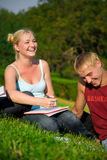 Blonde funny girl with blonde cute boy in the park. On grass stock images