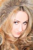Blonde in fur Stock Photo