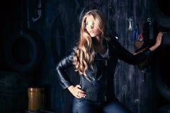 Blonde garage Royalty Free Stock Photography