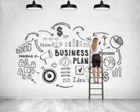 Blonde Geschäftsfrau auf Leiter, Unternehmensplan Stockfotos