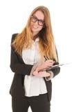 Blonde Geschäftsfrau bereit zum Nehmen der Minuten Lizenzfreies Stockfoto