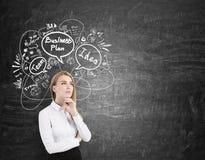 Blonde Geschäftsfrau denkt nahe Tafel mit Skizzen Stockfotos