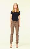 Blonde Geschäftsfrau der Mode lokalisiert auf Weiß Lizenzfreie Stockfotografie