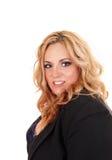 Blonde Geschäftsfrau der natürlichen Größe Stockfotografie