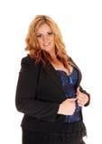 Blonde Geschäftsfrau der natürlichen Größe im Porträt Stockbilder