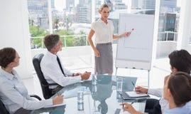 Blonde Geschäftsfrau, die auf ein wachsendes Diagramm zeigt Stockbilder