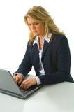 Blonde Geschäftsfrau, die an Computer arbeitet Lizenzfreie Stockfotografie