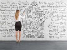 Blonde Geschäftsfrau, die eine Hauptverkaufsskizze zeichnet Stockbild