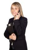 Blonde Geschäftsfrau mit einem Mobile Stockfotografie