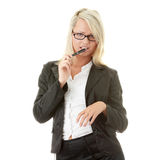 Blonde Geschäftsfrau mit Feder Lizenzfreies Stockfoto