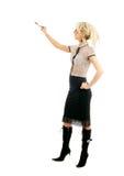 Blonde Geschäftsfrau mit Feder Lizenzfreie Stockfotos