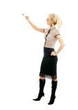 Blonde Geschäftsfrau mit Feder Lizenzfreie Stockbilder