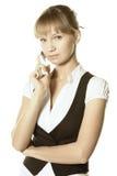 Blonde Geschäftsfrau mit Mobile Lizenzfreie Stockbilder