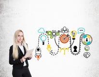 Blonde Geschäftsfrau mit Notizbuch und bunter Startskizze Lizenzfreie Stockfotografie