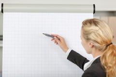 Blonde Geschäftsfrau Writing At Flip Chart In Office stockbilder