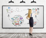 Blonde Geschäftsfrau zeichnet Geschäftsideenskizze auf whiteboar Stockbilder