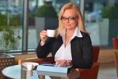 Blonde Geschäftsfraufunktion Atractive von mittlerem Alter Stockfotos