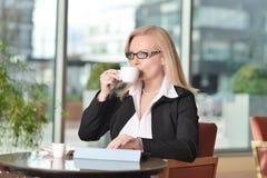 Blonde Geschäftsfraufunktion Atractive von mittlerem Alter Lizenzfreie Stockfotografie