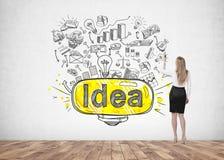 Blonde Geschäftsfrauzeichnungs-Ideenikonen Lizenzfreie Stockbilder