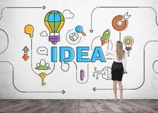 Blonde Geschäftsfrauzeichnungs-Ideenskizze Stockfoto