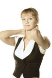 Blonde Geschäftsfrauhände hinter Stutzen Lizenzfreie Stockfotografie