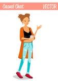 Blonde geschwätzige Mädchen-Zeichentrickfilm-Figur-Illustration, die einen Tasse Kaffee hält Lizenzfreies Stockbild