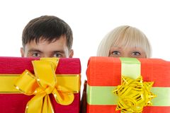 Blonde with a gift Stock Image