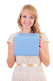 Blonde and a gift box Royalty Free Stock Photography